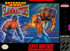 Saturday Night Slam Masters box art © Capcom, Nintendo