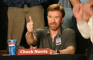 """When Chuck Norris gives the thumbs up, 5,000 angels get their wings."" (source)"
