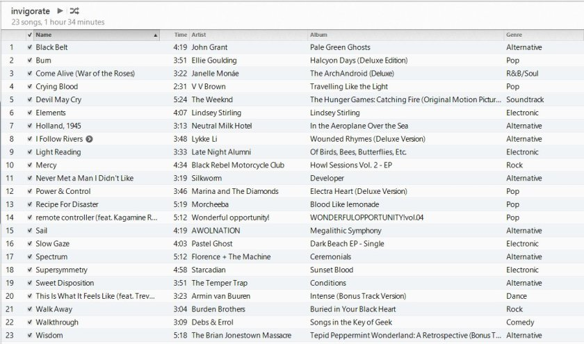 invigorate playlist in iTunes