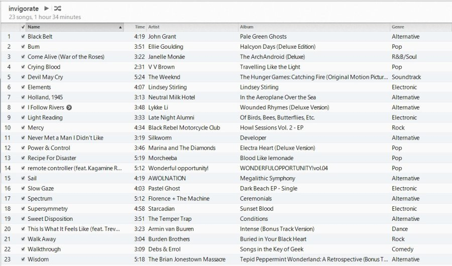 invigorate playlist in iTunes