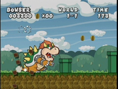 Bowser was relegated to some fun, old school play, naturally.