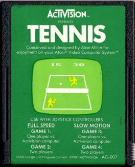 Atari Tennis cartridge © Activision, Atari